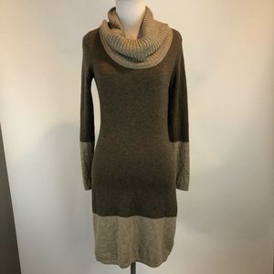 Athleta Brown Cowl Neck Merino Wool Sweater Dress